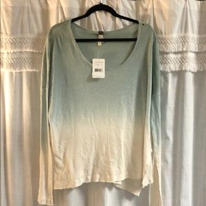 Free People Teal-White Ombré Top
